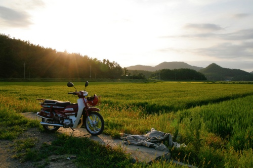 My bike at sunset in the most rural part of the island.